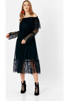 Eka Degaje Dantel İşlemeli Tül Elbise
