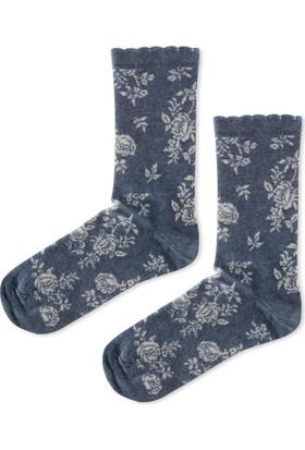 Madame Coco Gül Desenli Soket Çorap - İndigo