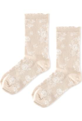 Madame Coco Gül Desenli Soket Çorap - Bej