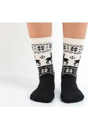 Madame Coco Kış Temalı Kadın Çorabı - Siyah