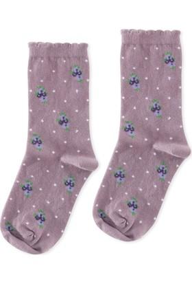 Madame Coco Çiçekli Kadın Soket Çorap - Mürdüm