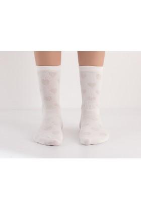 Madame Coco Kalp Desenli Kadın Çorabı - Ekru