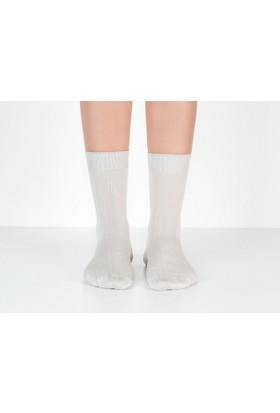 Madame Coco Tek Renk Soket Kadın Çorabı - Taş