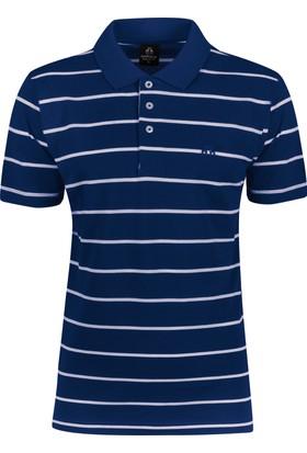 Çift Geyik Karaca Polo Yaka Çizgili Cepsiz T-Shirt