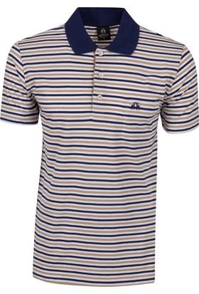 Çift Geyik Karaca Polo Yaka Çizgili Cepli T-Shirt