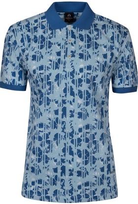 Çift Geyik Karaca Polo Yaka Desenli Cepsiz T-Shirt