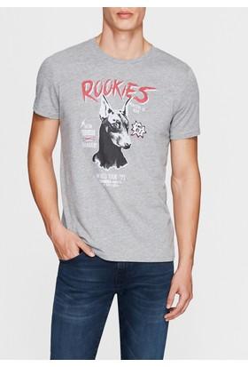 Mavi Rockies Baskılı Gri Tshirt