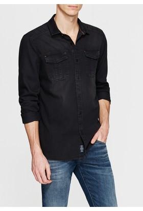 Mavi Çift Cepli Siyah Denim Gömlek