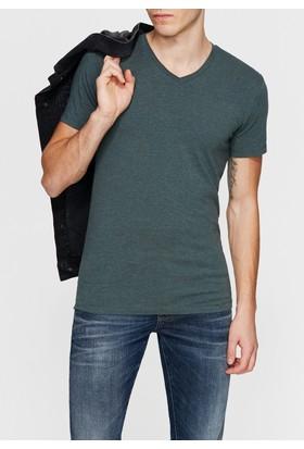 Mavi Yeşil V Yaka Streç Tshirt