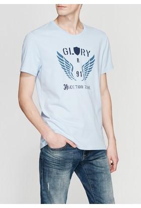 Mavi Distortion Baskılı Mavi Tshirt