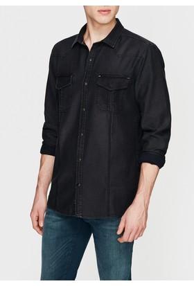 Mavi Çift Cepli Denim Siyah Gömlek