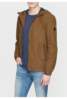 Mavi Kapüşonlu Kahverengi Ceket