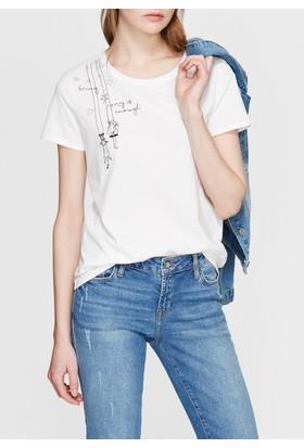 Mavi Kedi Baskılı Beyaz Tshirt