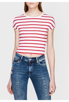 Mavi Çizgili Kırmızı Tshirt