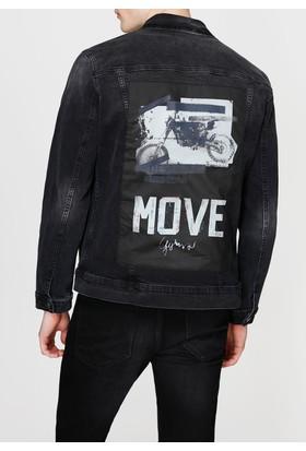 Mavi Frank Sloganlı Mavi Black Jean Ceket