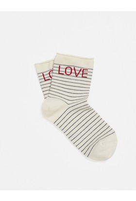 Mavi Love Yazılı Çorap