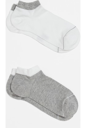 Mavi İkili Paket Beyaz Çorap