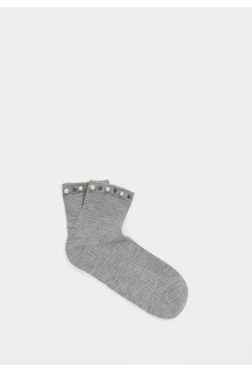 Mavi İncili Gri Çorap