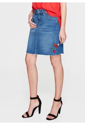 Mavi Renee Çiçek Nakışlı Jean Etek