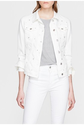 Mavi Daisy Beyaz Parılıtılı Jean Ceket