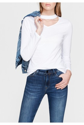 Mavi Uzun Kollu Beyaz Tshirt