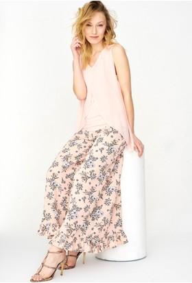 Lafaba Etek Uçları Fırfır Detaylı Çiçek Desenli Pantolon
