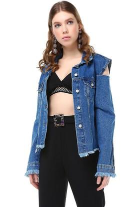 Bsl Mavi Jean Kadın Ceket 9881