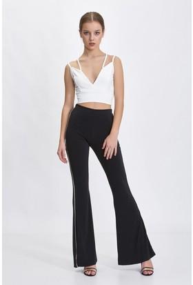 Bsl Siyah Şeritli Kadın Pantolon 9938