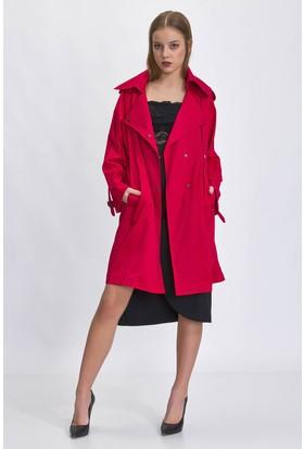 Bsl Kırmızı Kadın Trençkot 9954