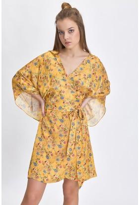 Bsl Sarı Kadın Elbise 9983