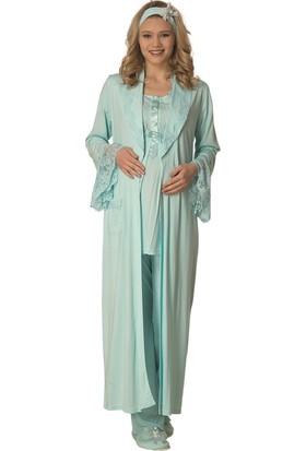 Şık Mecit 2005 Dantelli Lohusa Sabahlık Pijama Gecelik Set