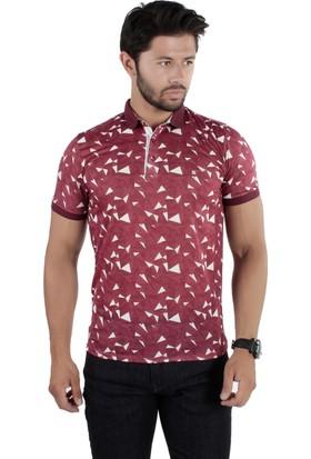 Brango 40150-4 Desenli Yakalı Bordo Tshirt