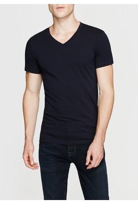 Mavi Erkek Lacivert V Yaka Streç Tshirt