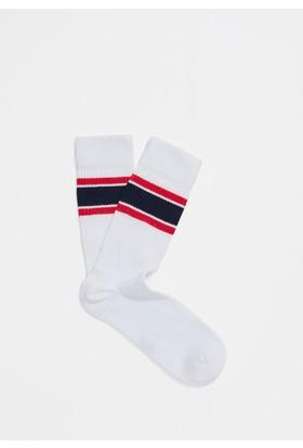 Mavi Erkek Beyaz Çorap