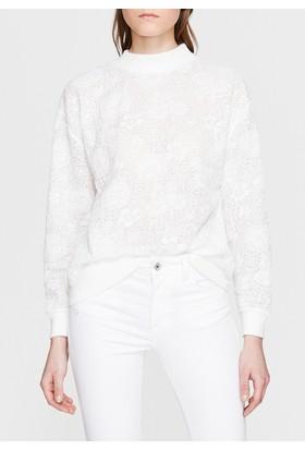 Mavi Kadın Jakarlı Beyaz Sweatshirt