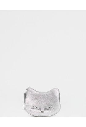 Mavi Kadın Kedili Gümüş Rengi Cüzdan