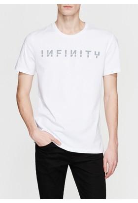 Mavi Erkek Infinity Baskılı Beyaz Tshirt