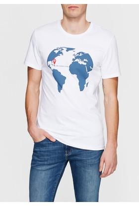 Mavi Erkek Zone Baskılı Beyaz Tshirt