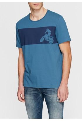 Mavi Erkek Motosiklet Baskılı Tshirt