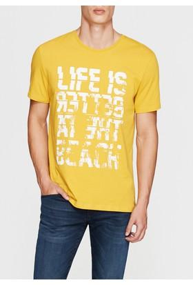 Mavi Fearless Baskılı Sarı T-Shirt