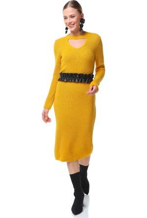 Su Moda Hardal Triko Elbise