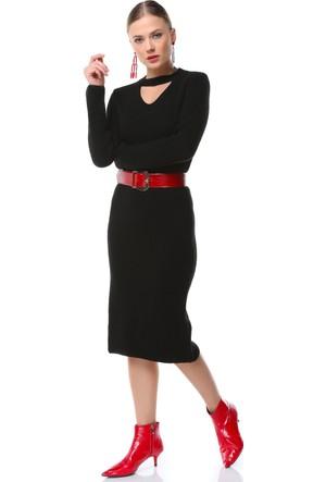 Su Moda Siyah Triko Elbise