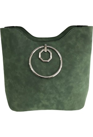 Çanta Stilim Yeşil Nubuk Deri 3495-Y El Ve Çapraz Kadın Çantası