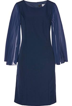 Bonprix Kadın Mavi Plise Detaylı Abiye Elbise