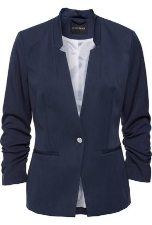 Bonprix Kadın Gri Kolları Drapeli Blazer Ceket
