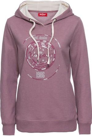 Bonprix Kadın Lila Metalik Baskılı & Kapüşonlu Sweatshirt