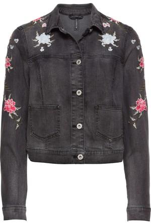 Bonprix Kadın Gri İşlemeli Jean Ceket