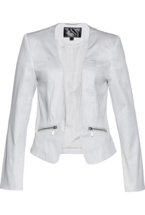 Bonprix Kadın Gri Cepleri Fermuarlı Ceket