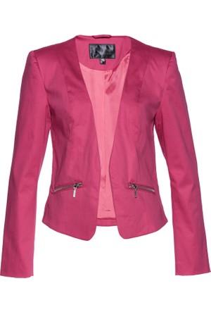 Bonprix Kadın Pembe Cepleri Fermuarlı Ceket