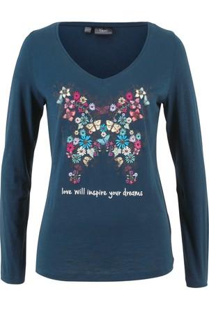 Bonprix Kadın Mavi Baskılı Sweatshirt